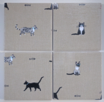 4 Ceramic Coasters in Sophie Allport Purrfect Cats